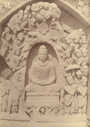 Buddhist sculpture slab excavated at Lorian Tangai, Peshawar District: Indra worshipping Buddha 10031058